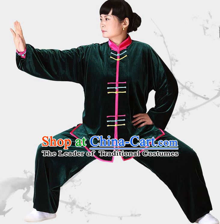 Traditional Chinese Kung Fu Green Velvet Costume, China Martial Arts Tai Ji Clothing for Women