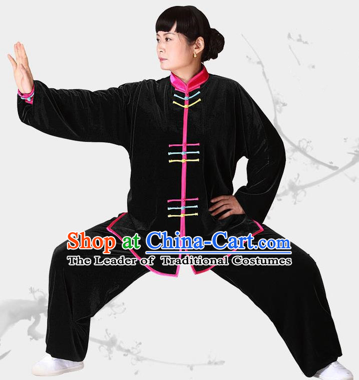 Traditional Chinese Kung Fu Black Velvet Costume, China Martial Arts Tai Ji Clothing for Women