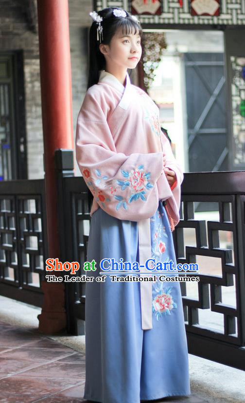 Traditional Chinese Ming Dynasty Palace Lady Ancient Princess Hanfu Embroidered Peony Costume for Women