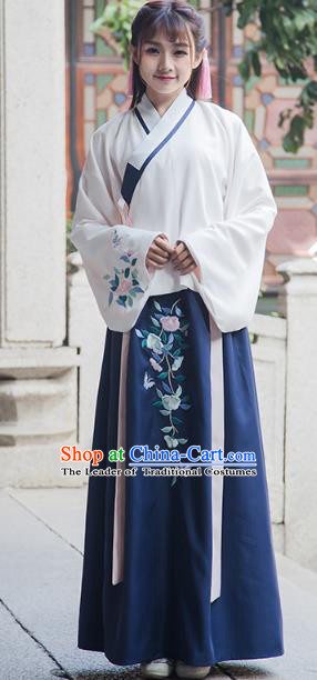 Traditional Chinese Ancient Palace Lady Hanfu Embroidered Costume, China Ming Dynasty Princess Clothing for Women
