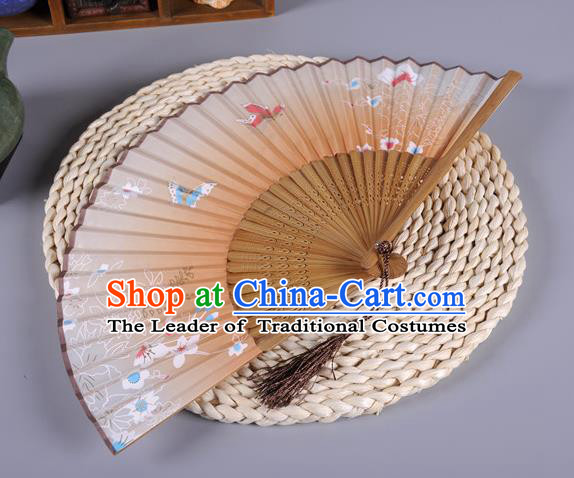 Traditional Chinese Crafts Orange Silk Folding Fan China Oriental Fans for Women