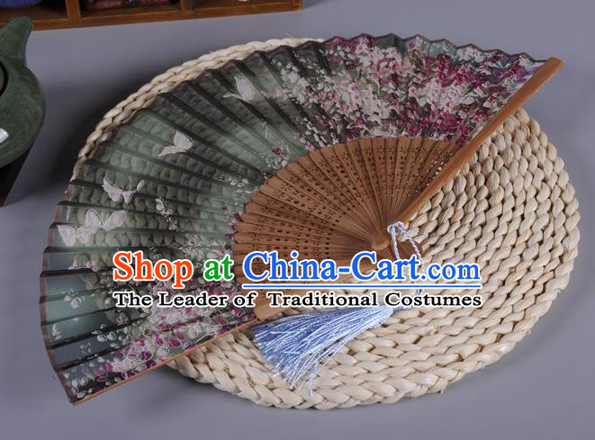 Traditional Chinese Crafts Printing Butterfly Atrovirens Silk Folding Fan China Oriental Fans for Women