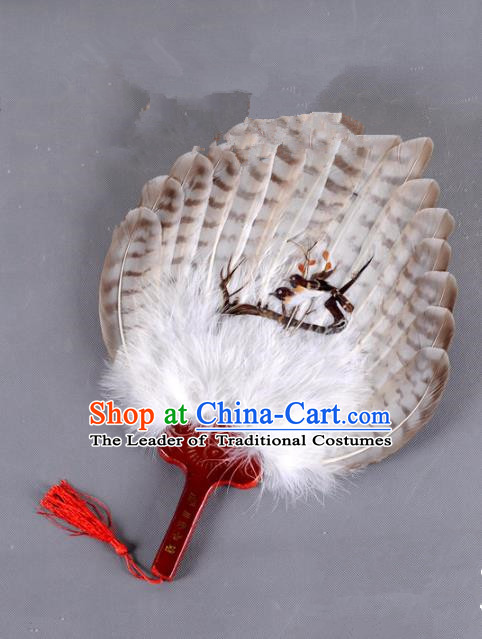 Traditional Chinese Crafts Folding Fan China Printing Magpie Brown Feather Fan Oriental Fan Zhuge Liang Fans