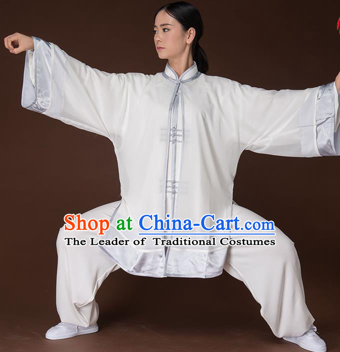 Traditional Chinese Kung Fu Costume Complete Set, China Martial Arts Grey Uniform Tai Ji Tang Suit Clothing for Women