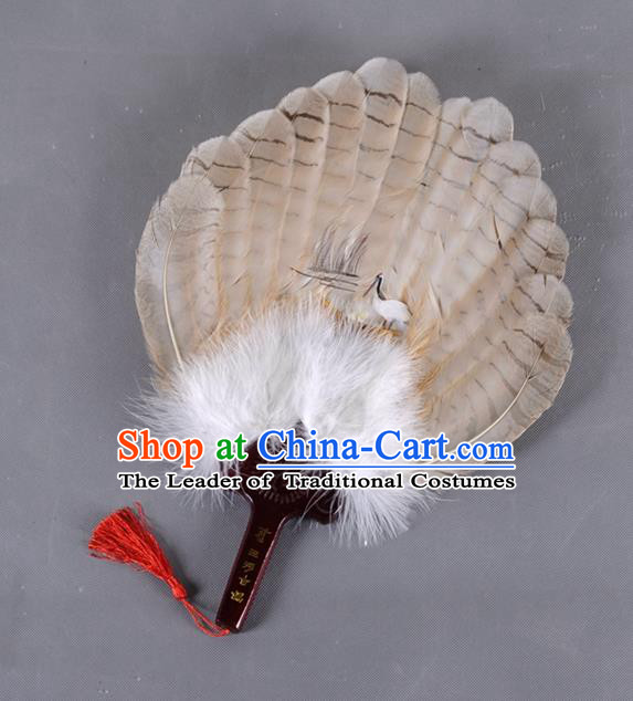 Traditional Chinese Crafts Folding Fan China Brown Eagle Feather Fan Oriental Crane Fan Zhuge Liang Fans