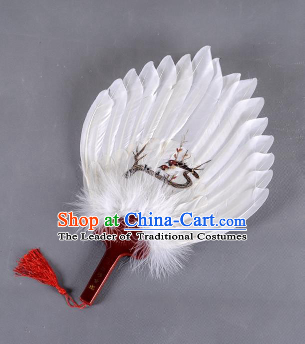 Traditional Chinese Crafts Folding Fan China White Feather Fan Printing Magpie Oriental Fan Zhuge Liang Fans