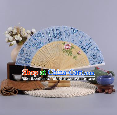 Traditional Chinese Crafts Hand Painted Peony Blue Silk Folding Fan China Oriental Fans for Women