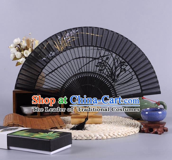 Traditional Chinese Crafts Hollow Out Orchid Folding Fan China Oriental Black Bamboo Fans for Women