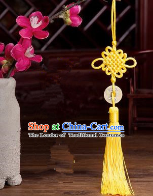 Traditional Chinese Fans Accessories Pendant Yellow Tassel Chinese Knots Fans Pendant