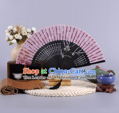 Traditional Chinese Crafts Hand Painted Wintersweet Amaranth Silk Folding Fan China Oriental Fans for Women