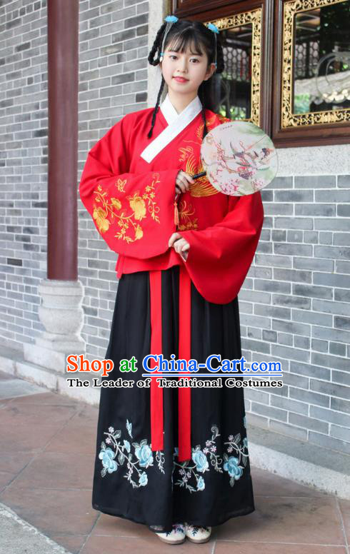 Traditional Chinese Ancient Ming Dynasty Palace Princess Hanfu Embroidered Costume for Women