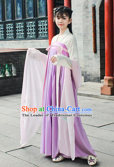 Traditional Chinese Ancient Tang Dynasty Princess Palace Lady Hanfu Embroidered Costume for Women