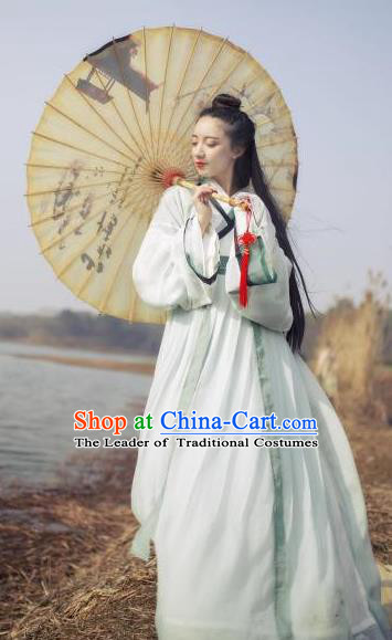 Traditional Chinese Jin Dynasty Palace Lady Costume, China Ancient Princess Hanfu Embroidered Clothing for Women