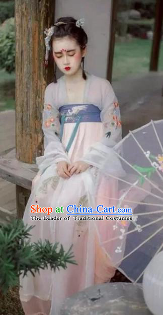 Traditional Chinese Tang Dynasty Palace Lady Dress Ancient Princess Hanfu Embroidered Costume for Women