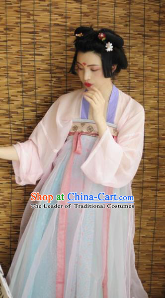 Traditional Chinese Tang Dynasty Royal Court Lady Dress Ancient Princess Hanfu Embroidered Costume for Women