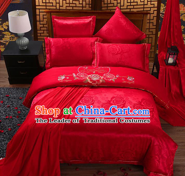 Traditional Chinese Wedding Embroidered Peony Flowers Red Satin Six-piece Bedclothes Duvet Cover Textile Qulit Cover Bedding Sheet Complete Set