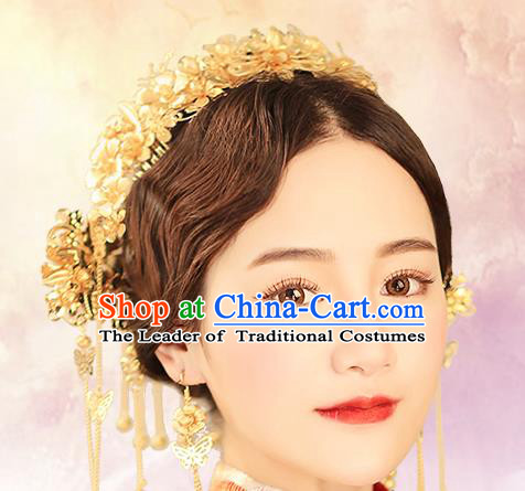Chinese Traditional Bride Hair Jewelry Accessories Xiuhe Suit Hairpins Headwear Wedding Headdress Hair Crown for Women