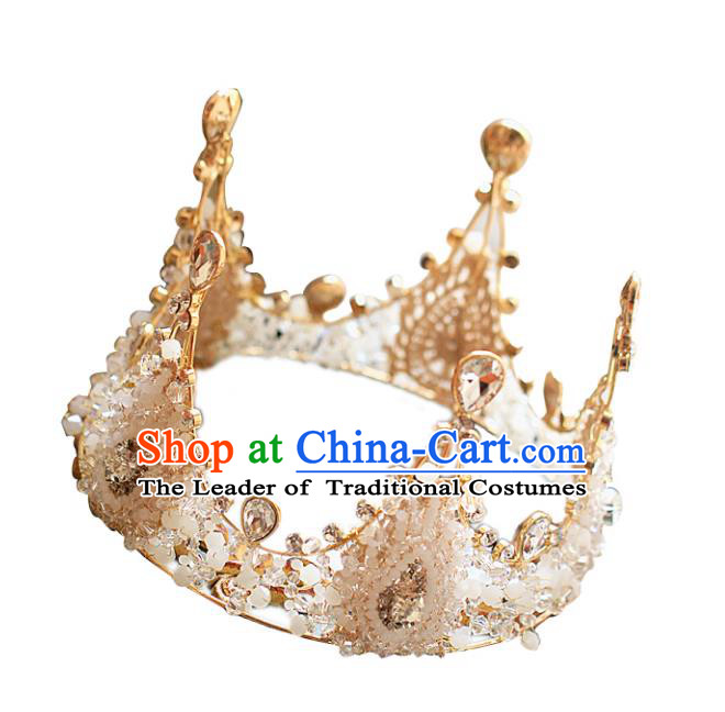 Chinese Traditional Bride Hair Accessories Baroque Princess Headwear Wedding Crystal Round Royal Crown for Women