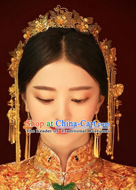 Chinese Traditional Bride Hair Jewelry Accessories Xiuhe Suit Golden Phoenix Coronet Wedding Tassel Headwear for Women