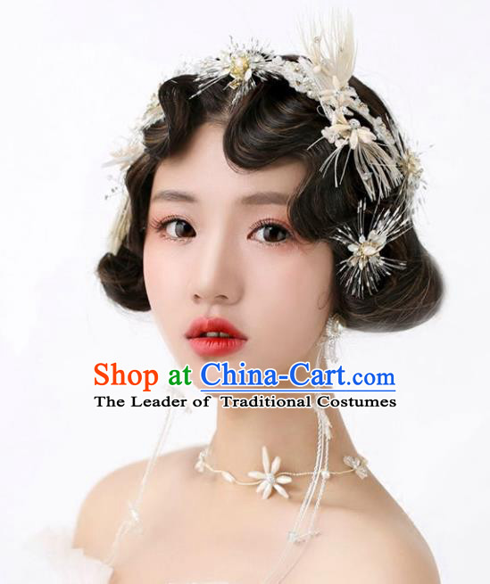 Chinese Traditional Bride Hair Jewelry Accessories Wedding Baroque Retro Feather Hair Clasp and Earrings for Women