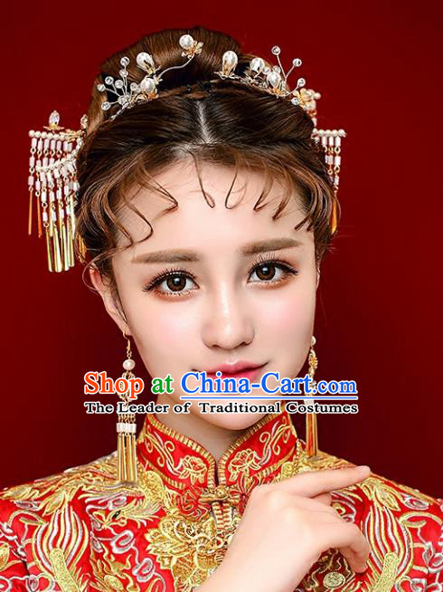 Chinese Traditional Bride Hair Jewelry Accessories Palace Xiuhe Suit Tassel Hairpins Wedding Step Shake for Women