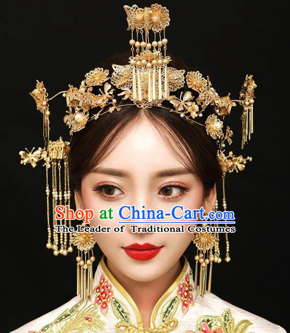 Chinese Traditional Bride Hair Jewelry Accessories Palace Xiuhe Suit Tassel Phoenix Coronet Wedding Hairpins for Women