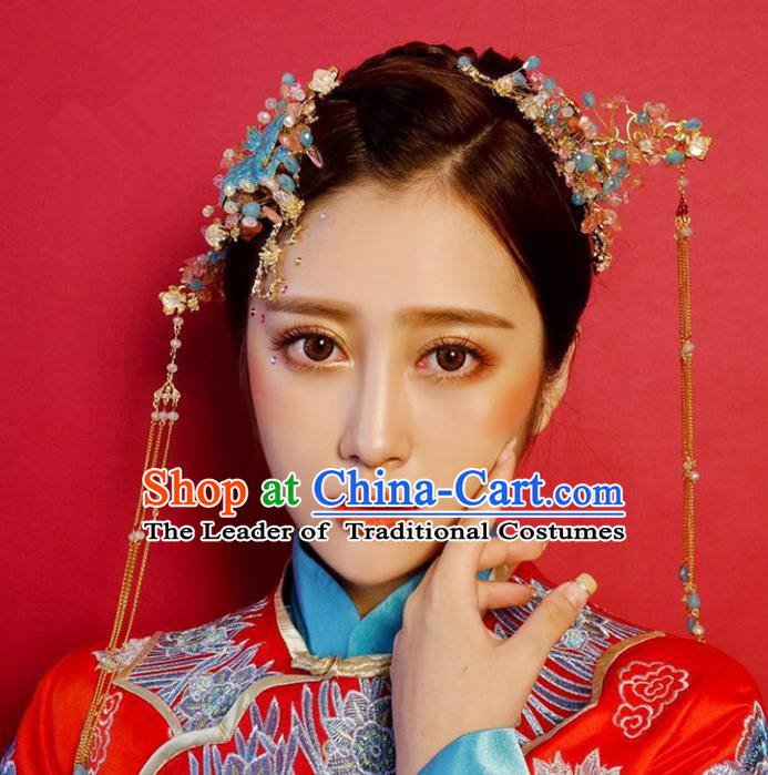 Chinese Traditional Bride Hair Accessories Palace Queen Xiuhe Suit Blueing Phoenix Coronet Wedding Hairpins for Women