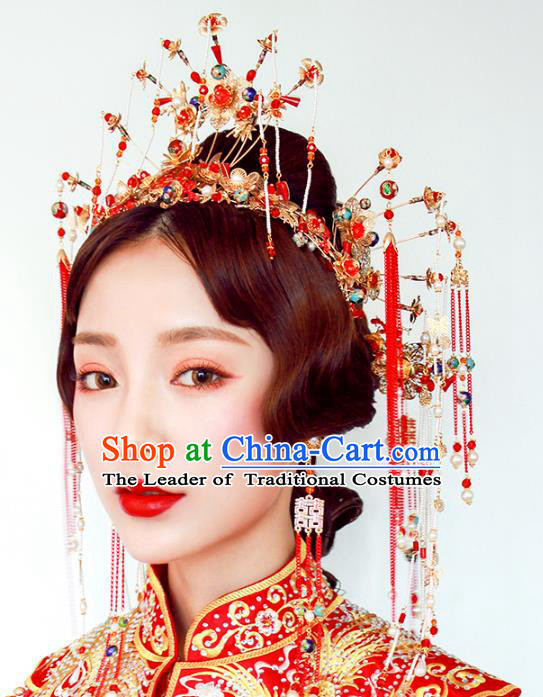 Chinese Traditional Bride Hair Accessories Xiuhe Suit Phoenix Coronet Wedding Tassel Hairpins Complete Set for Women