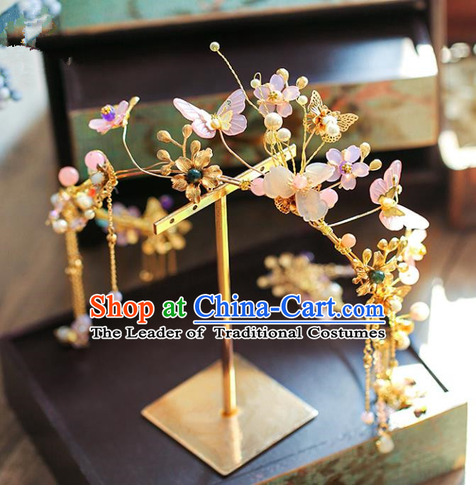 Chinese Traditional Bride Hair Accessories Xiuhe Suit Wedding Butterfly Hair Clasp Step Shake Hairpins for Women