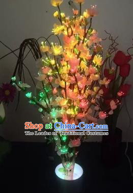 Chinese Traditional Electric LED Flowers Lantern Desk Lamp Home Decoration Pink Peach Blossom Lights