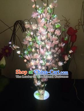 Chinese Traditional Electric LED Pink Flowers Lantern Desk Lamp Home Decoration Peach Blossom Lights