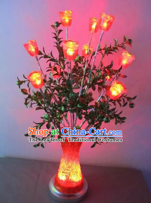 Chinese Traditional Electric LED Rose Lantern Desk Lamp Home Decoration Lights