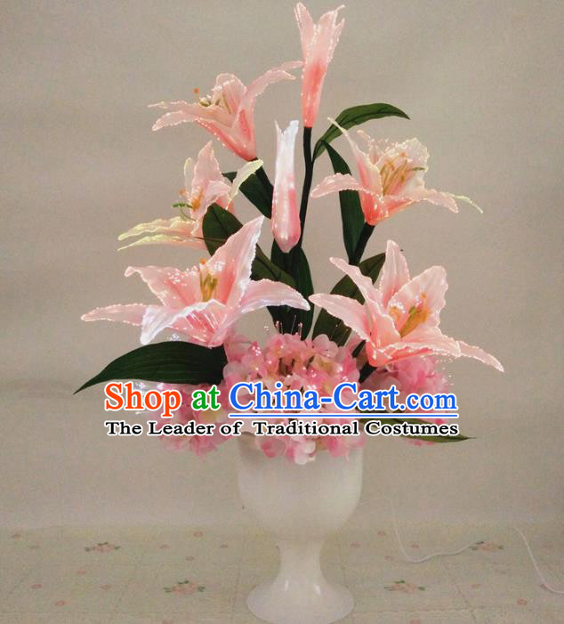 Chinese Traditional Electric LED Pink Greenish Lily Flowers Lantern Desk Lamp Home Decoration Lights Loudspeaker Box