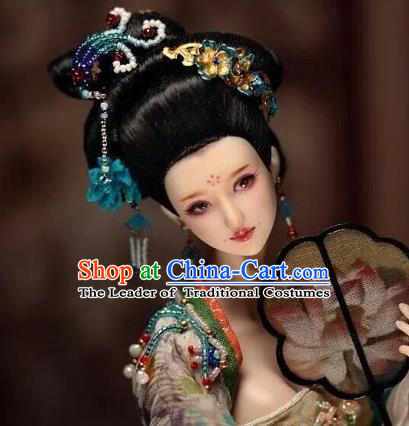 Chinese Traditional Silk Figurine Doll Hair Accessories Flowers Hairpins Ancient Han Dynasty Queen Headwear
