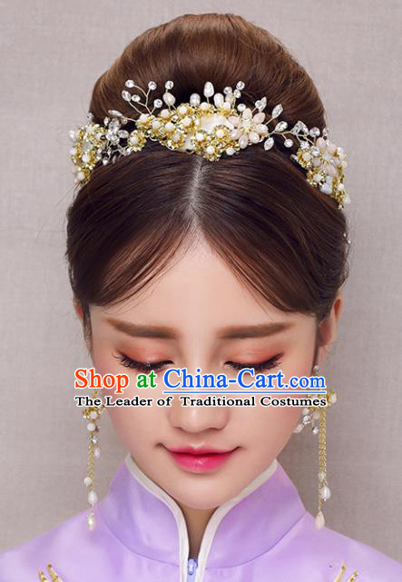Chinese Traditional Bride Hair Accessories Xiuhe Suit Beads Hair Comb Wedding Hairpins for Women