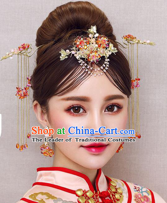 Chinese Traditional Bride Hair Accessories Xiuhe Suit Red Beads Phoenix Coronet Wedding Hairpins for Women