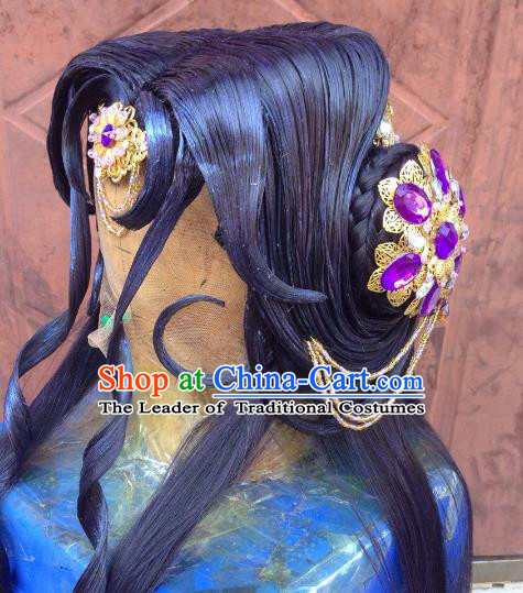 Chinese Traditional Ancient Princess Hair Accessories Handmade Hairpins Tassel Purple Step Shake for Women