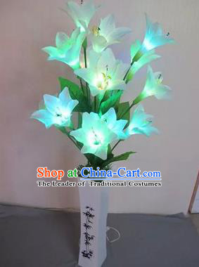 Chinese Traditional Electric LED Lantern Desk Lamp Home Decoration Blue Greenish Lily Flowers Lights