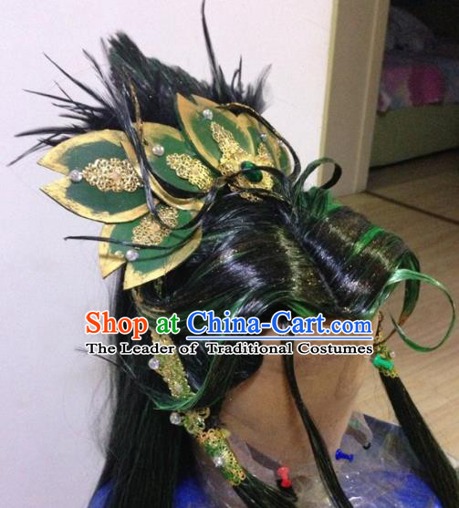 Chinese Traditional Ancient Royal Highness Hair Accessories Handmade Tuinga Feather Hairdo Crown for Men