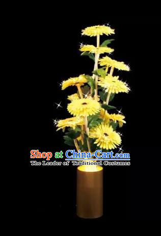Chinese Traditional Electric LED Lantern Desk Lamp Home Decoration Yellow Daisy Flowers Lights