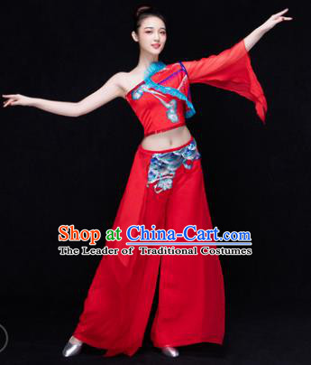 Traditional Chinese Classical Dance Fan Dance Costume, China Yangko Dance Red Single Sleeve Clothing for Women
