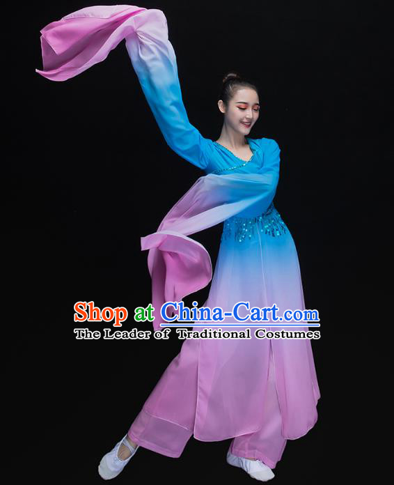 Traditional Chinese Classical Dance Fan Dance Costume, China Yangko Dance Water Sleeve Blue Clothing for Women