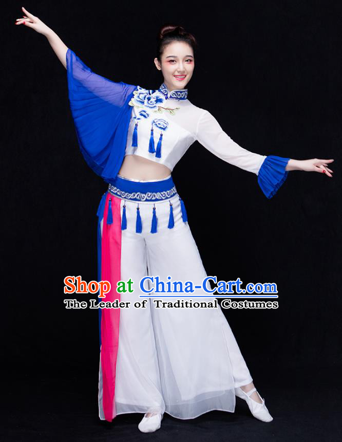 Traditional Chinese Classical Dance Fan Dance Embroidered Costume, China Yangko Dance Clothing for Women