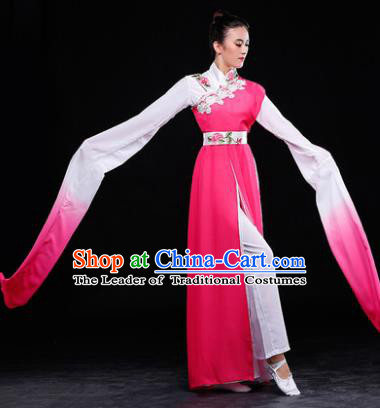 Traditional Chinese Classical Umbrella Dance Water Sleeve Costume, China Yangko Dance Pink Clothing for Women