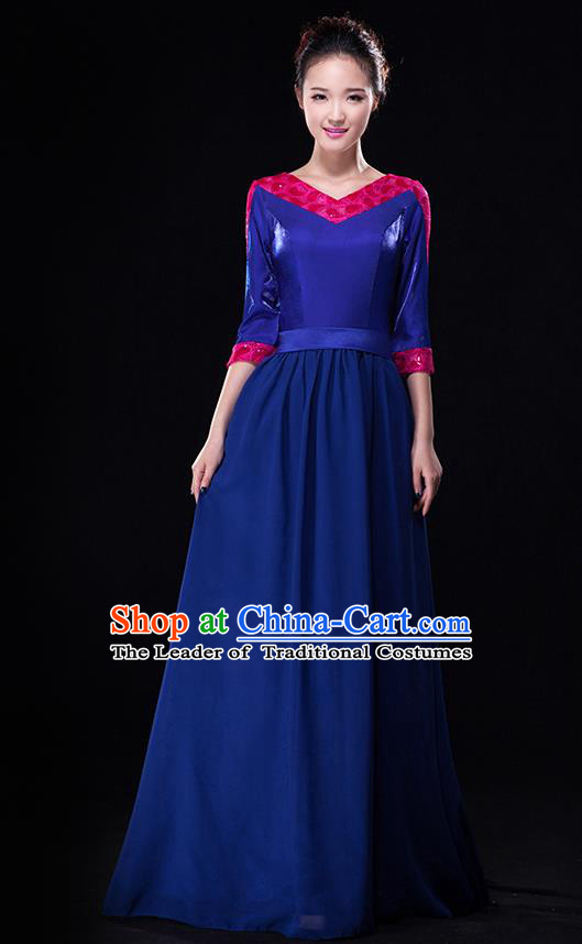 Traditional Chinese Modern Dance Costume, Opening Dance Chorus Singing Group Blue Dress Clothing for Women