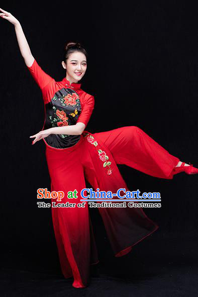 Traditional Chinese Classical Yangge Dance Costume, China Yangko Dance Fan Dance Embroidered Red Clothing for Women