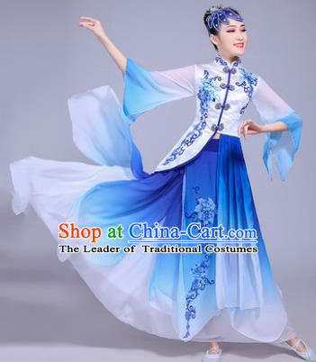 Traditional Chinese Classical Umbrella Dance Embroidered Costume, China Yangko Folk Dance Blue Dress Clothing for Women