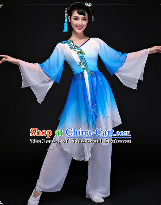 Traditional Chinese Classical Yangge Dance Costume, China Yangko Folk Dance Blue Clothing for Women