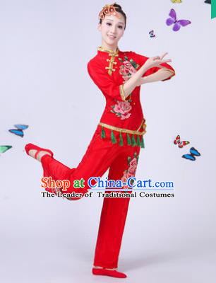 Traditional Chinese Classical Umbrella Dance Embroidered Red Costume, China Yangko Folk Fan Dance Clothing for Women