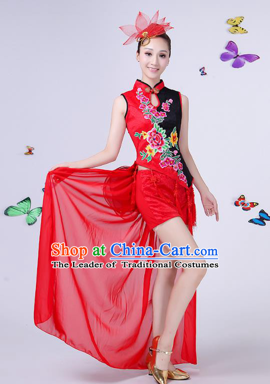 Traditional Chinese Modern Dance Opening Dance Clothing Jazz Dance Chorus Embroidered Red Costume for Women